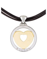 BVLGARI - Metallic Tondo Heart Pendant Necklace Yellow - Lyst