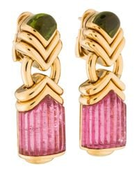 BVLGARI - Metallic 18k Pink Tourmaline & Peridot Earrings Yellow - Lyst