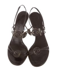 Chanel - Black Leather Slingback Sandals - Lyst