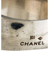 Chanel - Metallic Logo Band Silver - Lyst