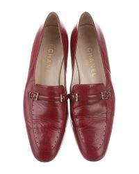 Chanel - Metallic Leather Perforated Loafers Gold - Lyst