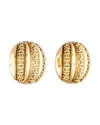 Chanel - Metallic Cc Channel Clip-on Earrings - Lyst