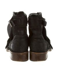 Chanel - Metallic Suede Round-toe Ankle Boots Black - Lyst