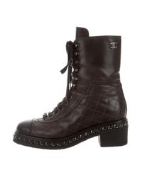 Chanel | Metallic Quilted Combat Boots Black | Lyst