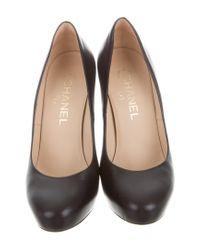 Chanel - Metallic Leather Round-toe Pumps Black - Lyst