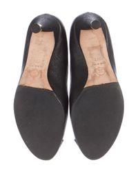 Chanel - Metallic Cap-toe Leather Pumps Black - Lyst