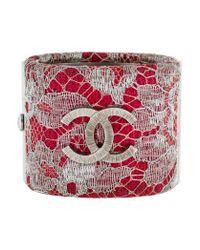 Chanel | Metallic Lace Cc Cuff Silver | Lyst