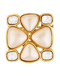 Chanel - Metallic Faux Pearl & Crystal Brooch - Lyst