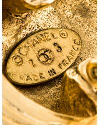 Chanel   Metallic Cc Circle Clip-on Earrings   Lyst