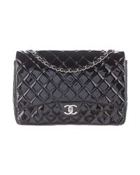 Chanel | Metallic Classic Maxi Double Flap Bag Black | Lyst