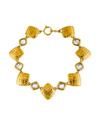 Chanel | Metallic Crystal & Square Link Necklace Gold | Lyst