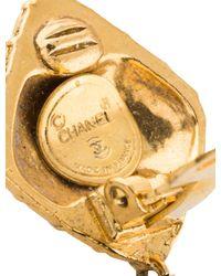 Chanel - Metallic Matelassé & Bow Drop Clip-on Earrings Gold - Lyst