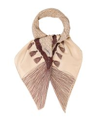 Chanel | Natural Square Tassel Scarf Tan | Lyst