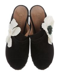 Chanel - Metallic Floral Suede Clogs Black - Lyst