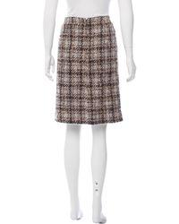 Chanel - Brown Bouclé Pencil Skirt - Lyst