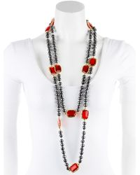 Chanel - Metallic Pearl & Red Crystal Bead Strand Necklace Gold - Lyst