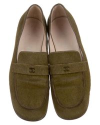 Chanel - Green Ponyhair Round-toes Loafers Olive - Lyst