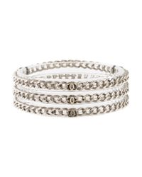 Chanel | Metallic Set Of Three Chain Bangle Bracelet Clear | Lyst