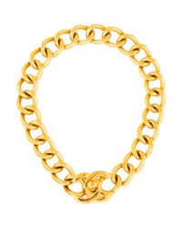 Chanel | Metallic Curb Chain Cc Turn Lock Necklace Gold | Lyst