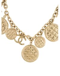 Chanel - Metallic Cc Quilted Necklace Gold - Lyst