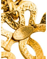 Chanel - Metallic Cc Clover Pendant Necklace Gold - Lyst