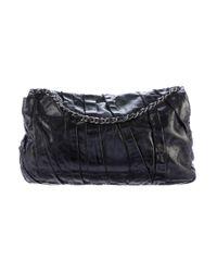 Chanel - Gray Glazed Calfskin Twisted Maxi Flap Bag Black - Lyst
