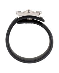Chanel - Metallic Cc Leather Cuff Bracelet Silver - Lyst