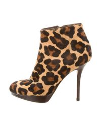 Dior | Brown Ponyhair Ankle Boots | Lyst