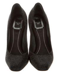 Dior - Black Embellished Square-toe Pumps - Lyst