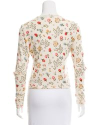 Dior - Green Floral Cropped Sweater - Lyst