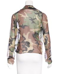 Dior - Green Camouflage Print Long Sleeve Top Olive - Lyst