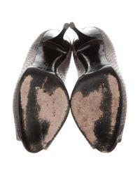 Giuseppe Zanotti - Gray Embossed Peep-toe Pumps Grey - Lyst