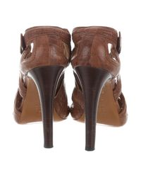 Givenchy - Metallic Leather Cutout Booties Cognac - Lyst