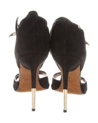 Givenchy - Metallic Suede Shark-lock Sandals Black - Lyst