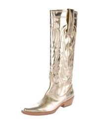 Givenchy - Metallic Cowboy Boots Gold - Lyst