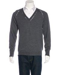 Dior Homme - Gray Knit V-neck Sweater for Men - Lyst