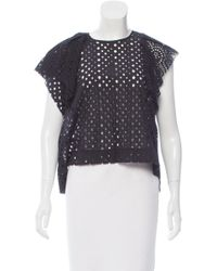 Isabel Marant - Black Ruffled Eyelet Top - Lyst