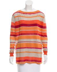 Loro Piana - Linen Striped Sweater W/ Tags Orange - Lyst