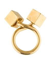 Louis Vuitton - Metallic Cube Ring Gold - Lyst