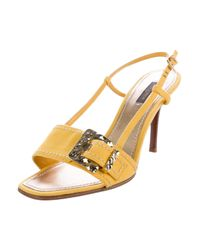 Louis Vuitton - Metallic Logo-accented Slingback Sandals Yellow - Lyst