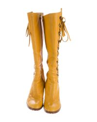 Marc Jacobs - Yellow Leather Lace-up Boots - Lyst