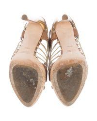 Miu Miu - Metallic Miu Caged Platform Sandals Cognac - Lyst