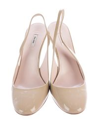 Miu Miu - Metallic Miu Patent Leather Slingback Wedges Beige - Lyst