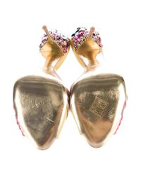 Miu Miu | Metallic Miu Jewel-embellished Ruched Slide Sandals Yellow | Lyst