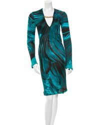 Roberto Cavalli - Metallic Abstract Print Embellished Dress Teal - Lyst