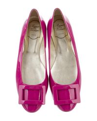 Roger Vivier | Pink Patent Leather Buckle Flats | Lyst