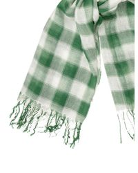 Étoile Isabel Marant - Green Checkered Fringe Scarf - Lyst