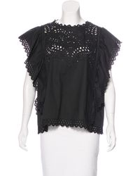 Étoile Isabel Marant | Black Embroidered Eyelet Top | Lyst