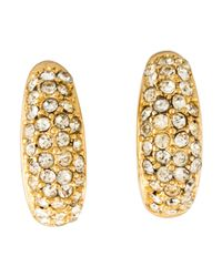 Dior - Metallic Pavé Crystal Clip-on Earrings Gold - Lyst