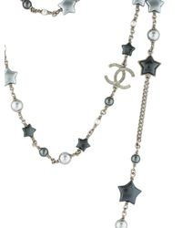 Chanel - Metallic Pearl & Star Cc Multistrand Necklace Silver - Lyst